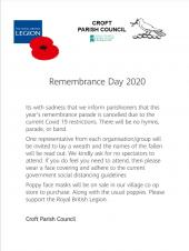 Cancellation of Remembrance service